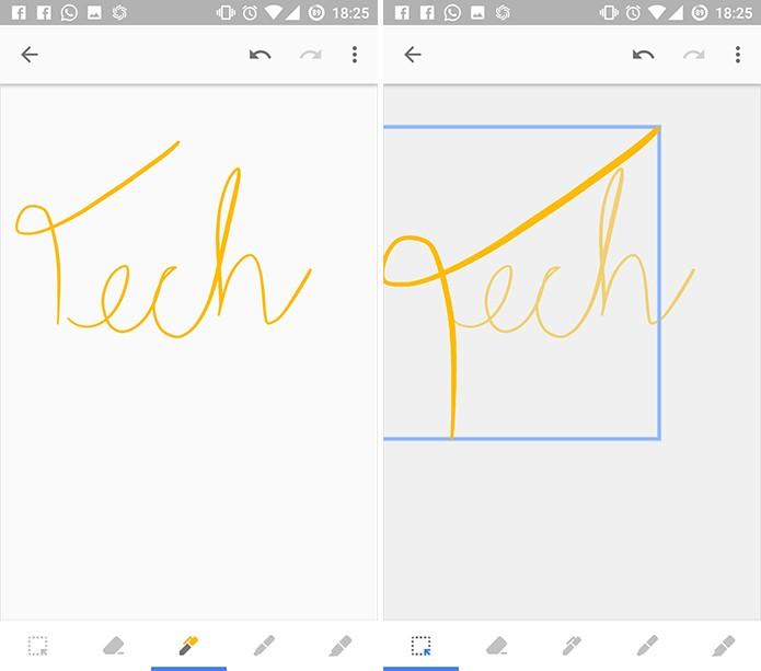 Ferramenta de seleção serve para movimentar desenho e redimensioná-lo no Google Keep (Foto: Reprodução/Elson de Souza)