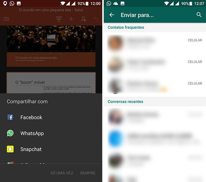 PowerPoint abrirá lista de compartilhamento do Android para que usuário escolha um app (Foto: Reprodução/Elson de Souza)