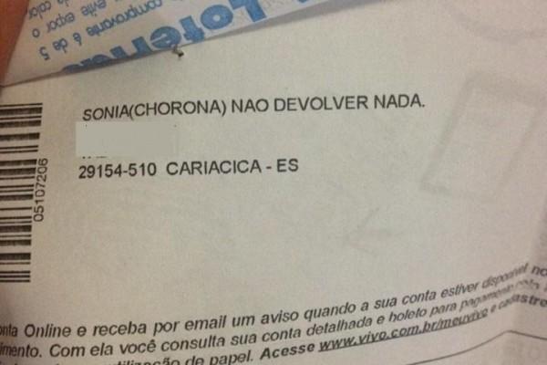 Fatura chama cliente de 'chorona' (Foto: Divulgação)