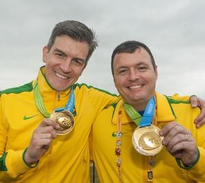 Cássio Rippel e Julio Almeida ouro no tiro Pan-Americano (Foto: Warren Toda/EFE)