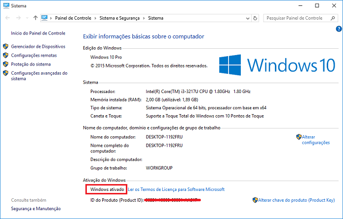 Resultado de imagem para ativao windows 10 em branco
