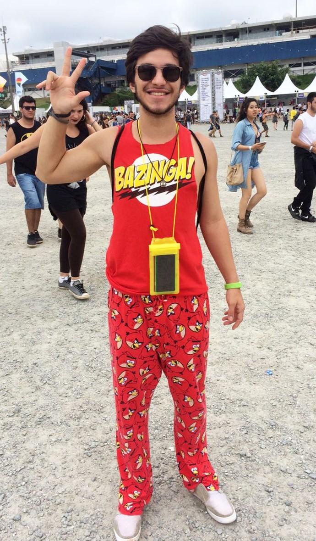 Bruno Trevelin escolheu look cômico para curtir o festival (Foto: Aline Nunes/Gshow)