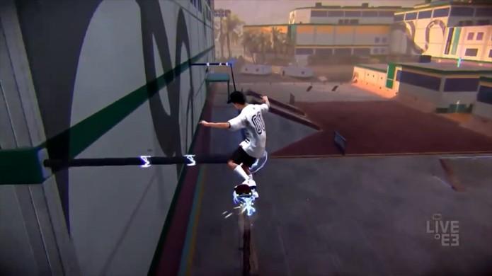 Tony Hawks Pro Skater tem uma nova mecânica na qual seu skate absorve propriedades do cenário (Foto: Reprodução/YouTube)
