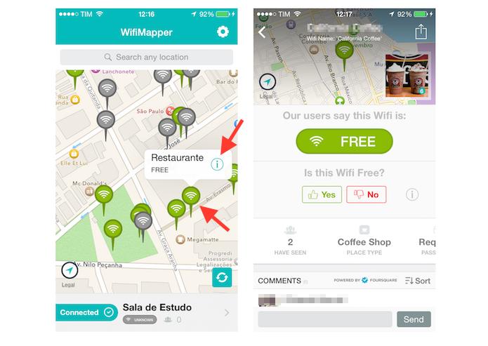 Acessando informações de redes Wi-Fi sem senha no WifiMapper para iPhone (Foto: Reprodução/Marvin Costa)