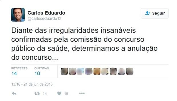 Prefeito anunciou o cancelamento do concurso por meio das redes sociais (Foto: Reprodução/ Twitter)