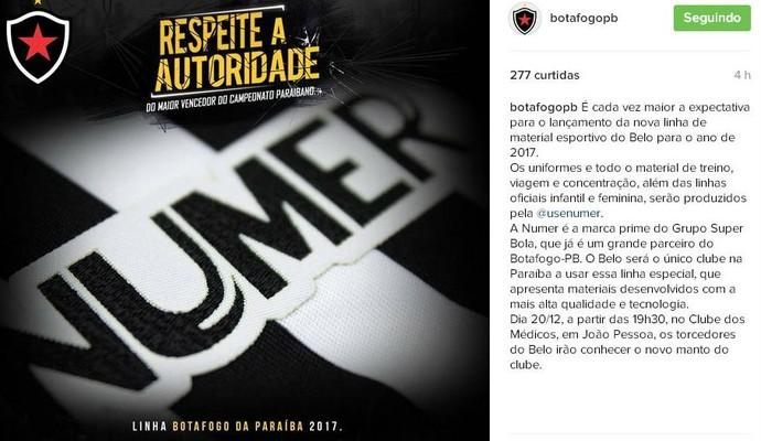 Botafogo-PB, nova camisa (Foto: Reprodução / Instagram)