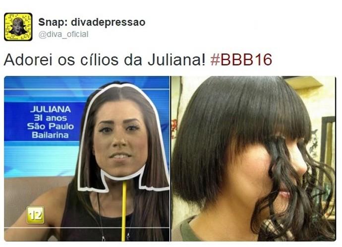 Nem os cílios da Julia os internautas perdoaram (Foto: Reprodução Internet)
