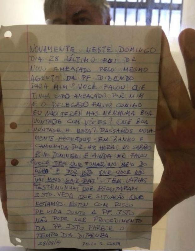 O ex-diretor da Petrobras Paulo Roberto Costa escreveu mais uma carta relatando problemas na sede da PF, onde está preso (Foto: Reprodução)