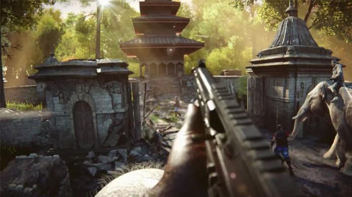 Far Cry 4 permite usar elefantes como poderosos tanques (Foto: Reprodução: YouTube) (Foto: Far Cry 4 permite usar elefantes como poderosos tanques (Foto: Reprodução: YouTube))