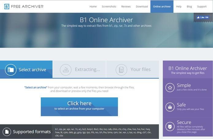 B1 Online Archiver é um dos melhores sites para a função (Foto: Reprodução/Helito Bijora)