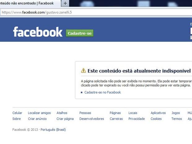 Página do advogado Gustavo Zanelli não foi encontrada (Foto: Reprodução/Facebook)