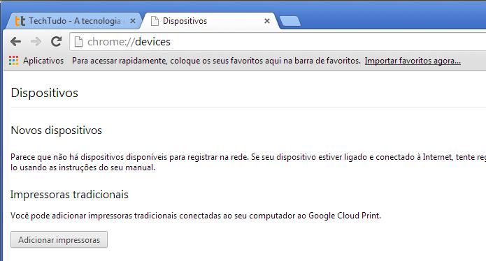 Clicando na opção Adicionar impressoras do Google Cloud Print (Foto: Reprodução/Edivaldo Brito)