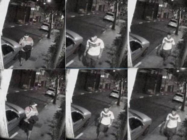 Imagens mostram vítima (à esquerda) e o suspeito (nas demais fotos) segundos antes de crime (Foto: Divulgação/Polícia Civil)