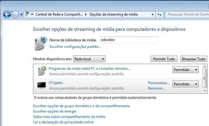 Tela Opções de streaming de mídia (Foto: Reprodução/Edivaldo Brito)