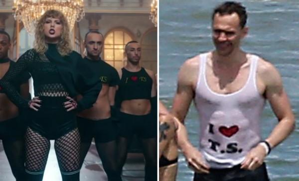 A cantora Taylor Swift com os dançarinos de seu novo clipe usando camisa semelhante com a declaração de amor a ela (Foto: Reprodução/Instagram)