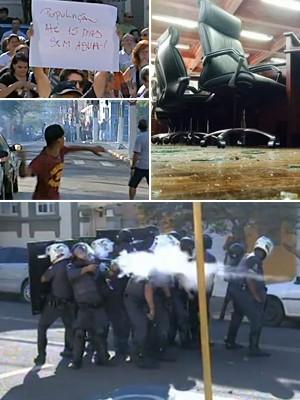protesto Itu confrontos montagem (Foto: Reprodução/TV TEM; )