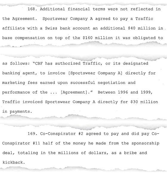 Trecho de denúncia do MP dos EUA afirma que José Hawilla e Ricardo Teixeira dividiram meio a meio valores recebidos por fora no contrato da CBF com a Nike (Foto: reprodução)