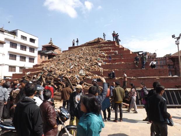 Sobrevivente de terremoto, baiano registra imagens de um Nepal destruído (Foto: Manoel Tenório/Arquivo Pessoal)