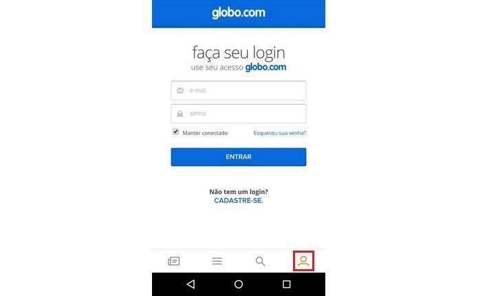 Tela de login no sistema Globo.com (Foto: Reprodução/Raquel Freire)
