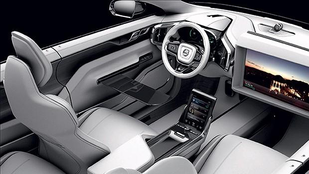 MUTANTE O espaço interno do Concept 26, da Volvo, transforma-se de acordo com o uso (Foto: Volvo/Divulgação)
