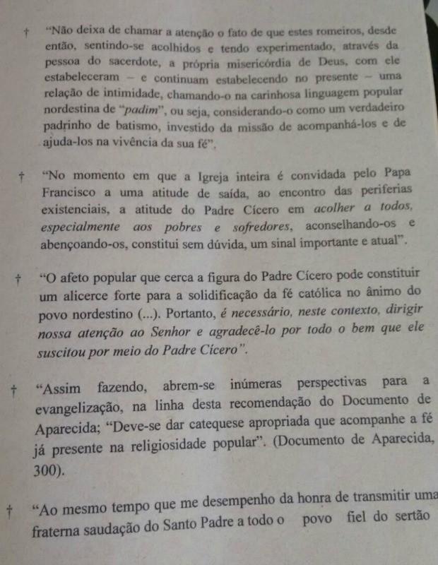 Carta do Vaticano à diocese do Crato (Foto: Reprodução)