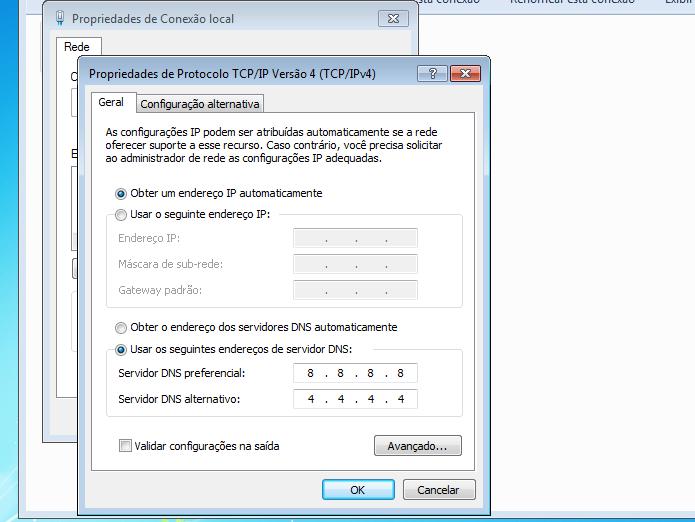 Alterando os servidores DNS no Windows 7 (Foto: Reprodução/Edivaldo Brito)