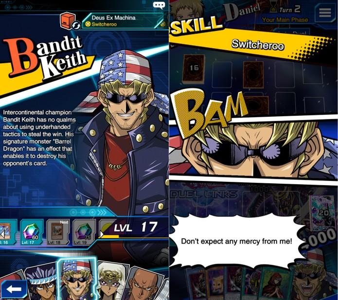 Yu-Gi-Oh! Duel Links: Bandit Keith pode tirar algumas cartas da manga, literalmente (Foto: Reprodução/Vinícius Mathias)