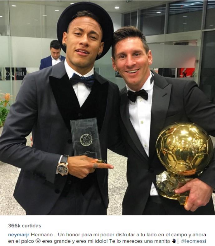 e1bb118f18 Neymar posta foto com Messi e a quinta Bola de Ouro
