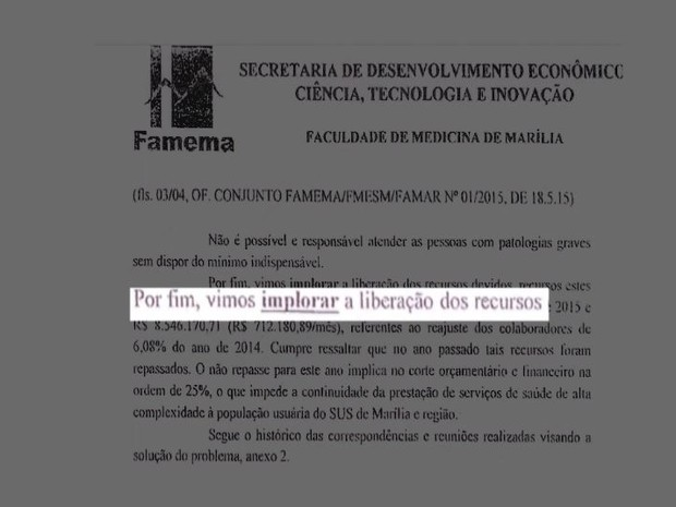 Documento mostra que Famema pediu socorro ao estado (Foto: Reprodução / TV TEM)