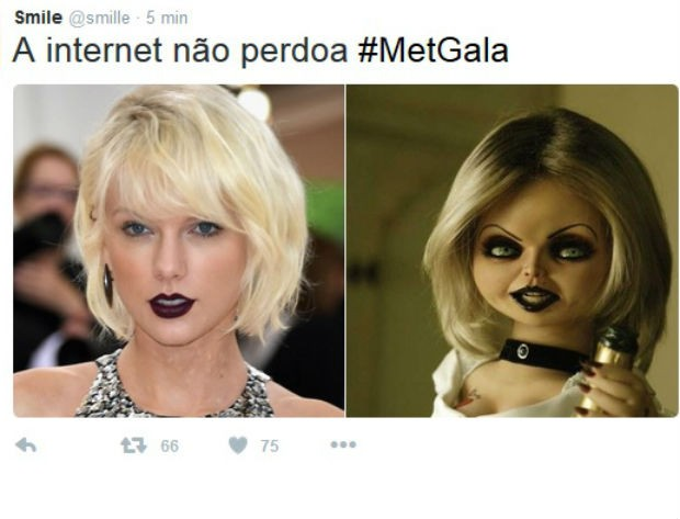 Taylor Swift foi compara com a 'A noiva de Chucky' (Foto: Reprodução/Twitter)