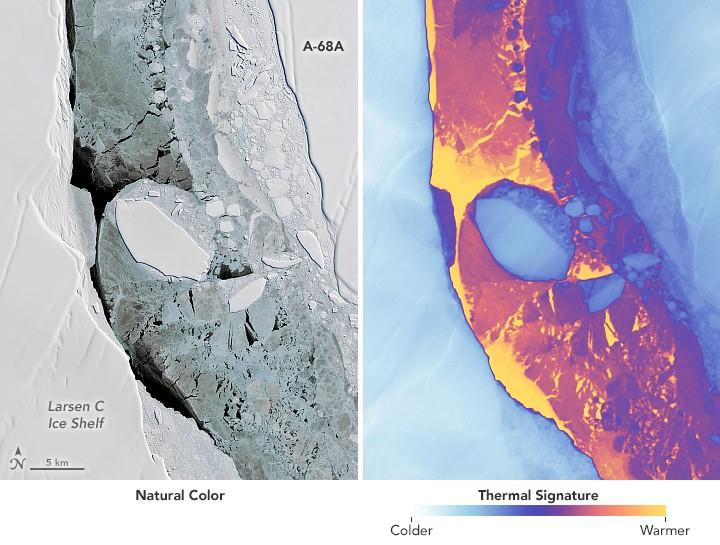 Detalhe de fragmentos de iceberg que se soltaram do A-68 (Foto: NASA)