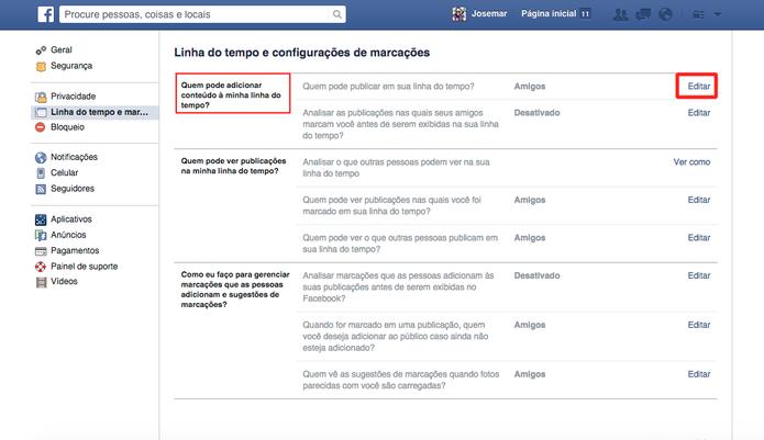 Clique em Editar para selecionar quem poderá publicar no seu perfil  (Foto: Reprodução/Frederico Canequela)