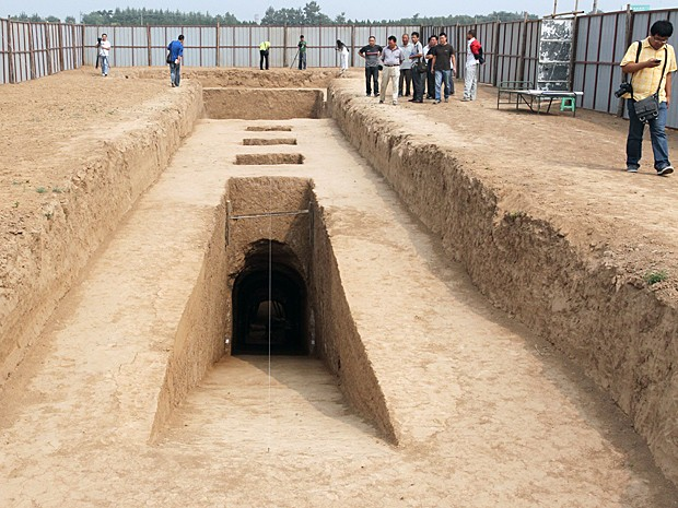 Lado de fora do túmulo (Foto: Shaanxi Provincial Cultural Reli/AFP)