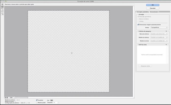 Acessando o filtro correção de lente com atalho de teclado (Foto: Reprodução/André Sugai) (Foto: Acessando o filtro correção de lente com atalho de teclado (Foto: Reprodução/André Sugai))
