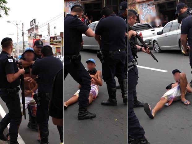 Estudante é dominado por guardas e recebe descarga de pistola de choque em Campinas (Foto: Denny Cesare)