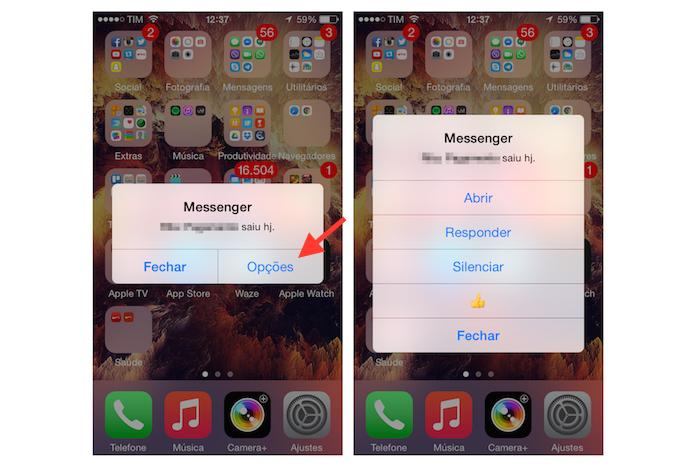 Acessando ações do Facebook Messenger no alerta de notificações do iPhone (Foto: Reprodução/Marvin Costa)