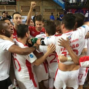 Sorocaba, Futsal, Boca Juniors, Libertadores, campeão, comemoração (Foto: Divulgação / Brasil Kirin)