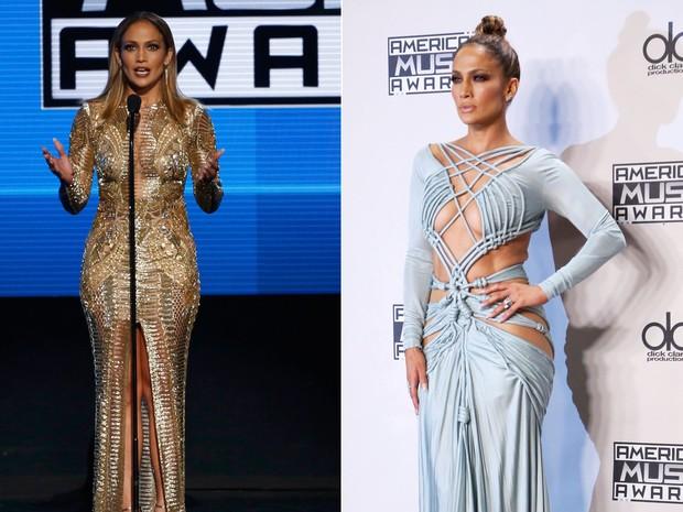 A cantora e atriz Jennifer Lopez durante sua participação no American Music Awards (AMA's) 2015, do qual foi apresentadora (Foto: Mario Anzuoni/Reuters e David McNew/Reuters)