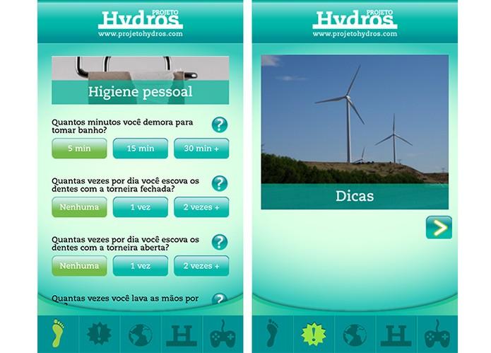 Pegada Hydros é um app que oferece dicas e mostra o gasto médio de água do usuário (Foto: Reprodução/Barbara Mannara)