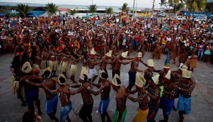 IV Jogos Tradicionais Indígenas 2014 - cerimônia de acendimento da pira (Foto: Divulgação/Agência Pará)