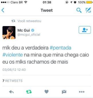Suposto post de Mc Gui no Twitter (Foto: Reprodução / Twitter)