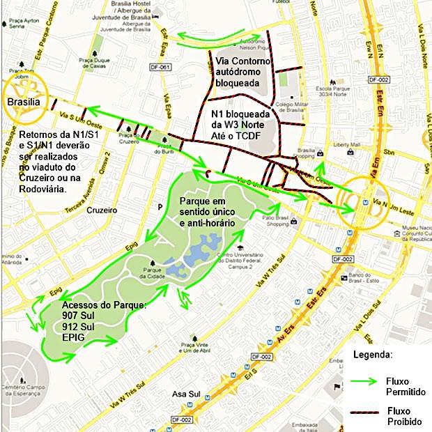 Mapa com os desvios e bloqueios no trânsito no Plano Piloto, para este sábado (18), data de inauguração do Estádio Nacional de Brasília (Foto: Detran/Divulgação)
