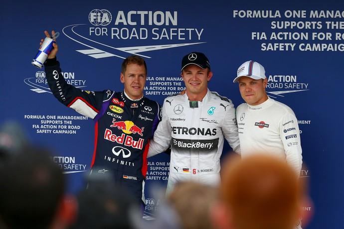 Nico Rosberg entre Sebastian Vettel e Valtteri Bottas: os três primeiros do grid para o GP da Hungria (Foto: Getty Images)