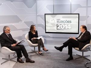 O candidato do PSDC à Presidência da República, Eymael, é entrevistado no estúdio do G1 em São Paulo (Foto: Caio Kenji/G1)