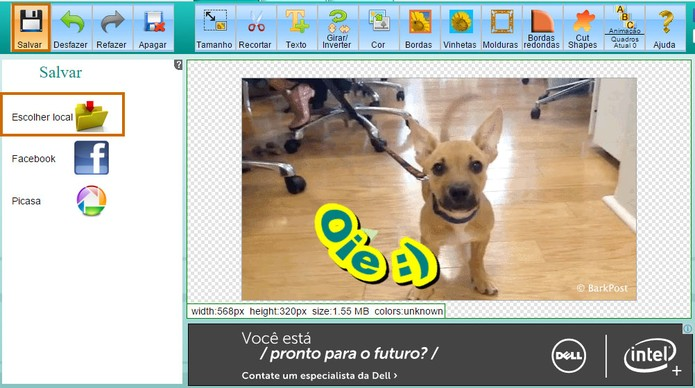 Salve o GIF com o texto personalizado no computador (Foto: Reprodução/Barbara Mannara)