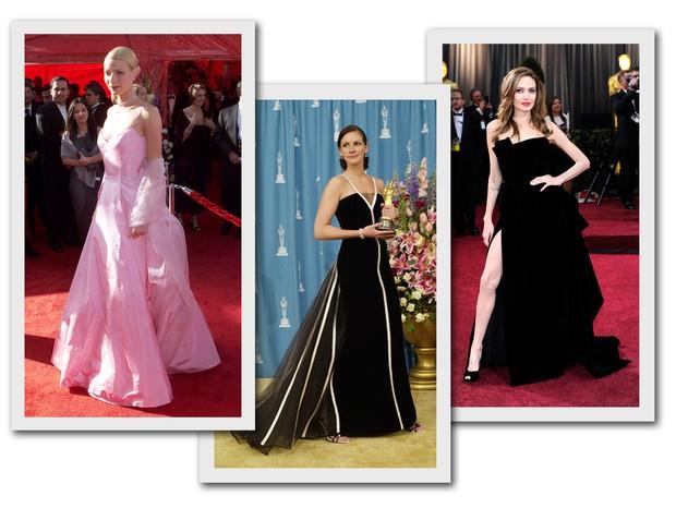 Gwyneth Paltrow em 1999, Julia Roberts em 2001 e Angelina Jolie em 2012 são alguns dos looks mais marcantes da história do Oscar (Foto: Getty Images)
