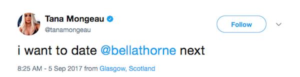 A mensagem da youtuber Tana Mongeau dizendo que gostaria de namorar Bella Thorne (Foto: Twitter)