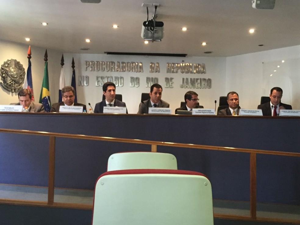 Coletiva do Ministério Público Federal é realizada na Procuradoria da República do Rio de Janeiro (Foto: Cristina Boeckel / G1)