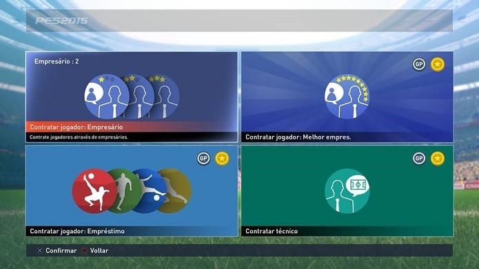 Contrate jogadores por empréstimo neste menu (Foto: Reprodução/Thiago Barros)