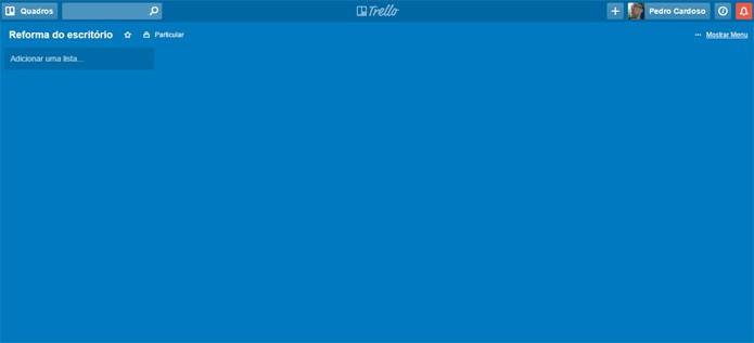 O quadro do Trello ainda vazio (Foto: Reprodução)